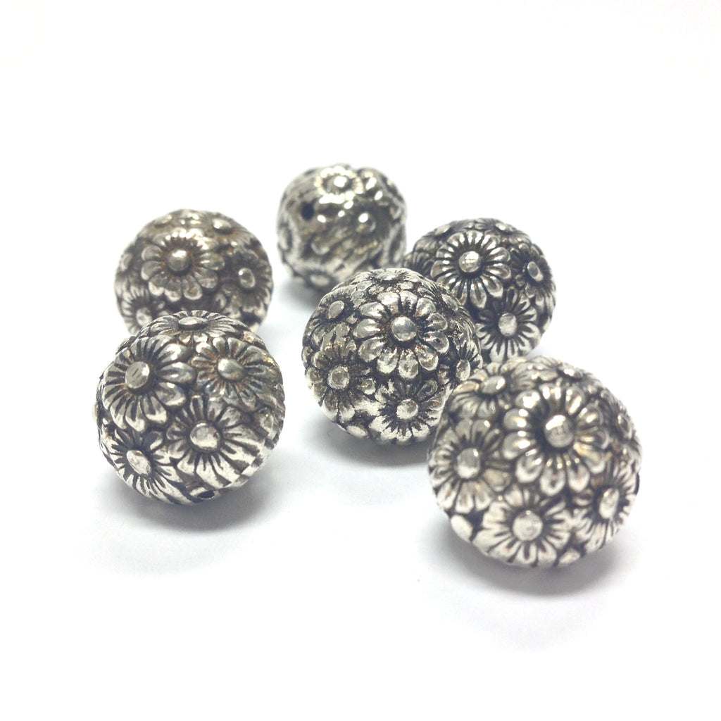 14MM Antique Silver Flower Bead (36 pieces)