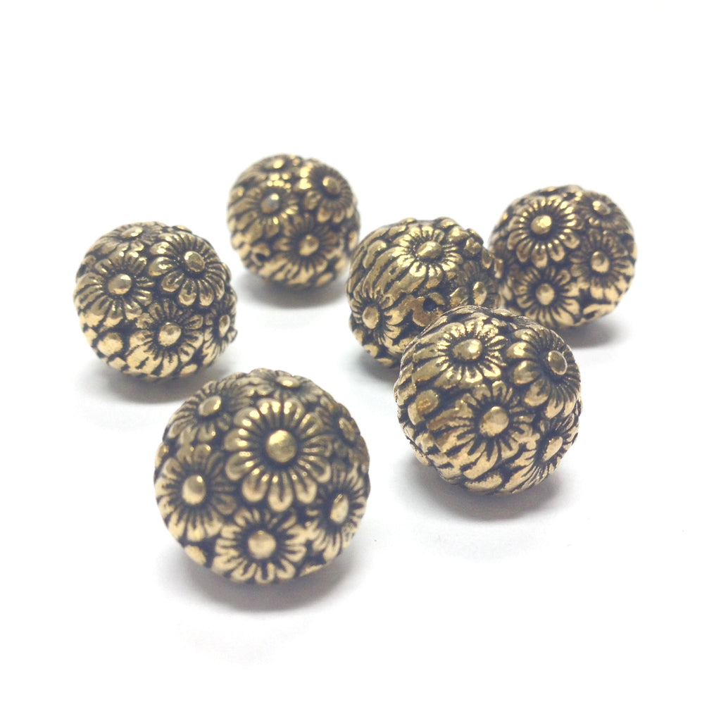 14MM Ant.Ham.Gold Flower Bead (36 pieces)