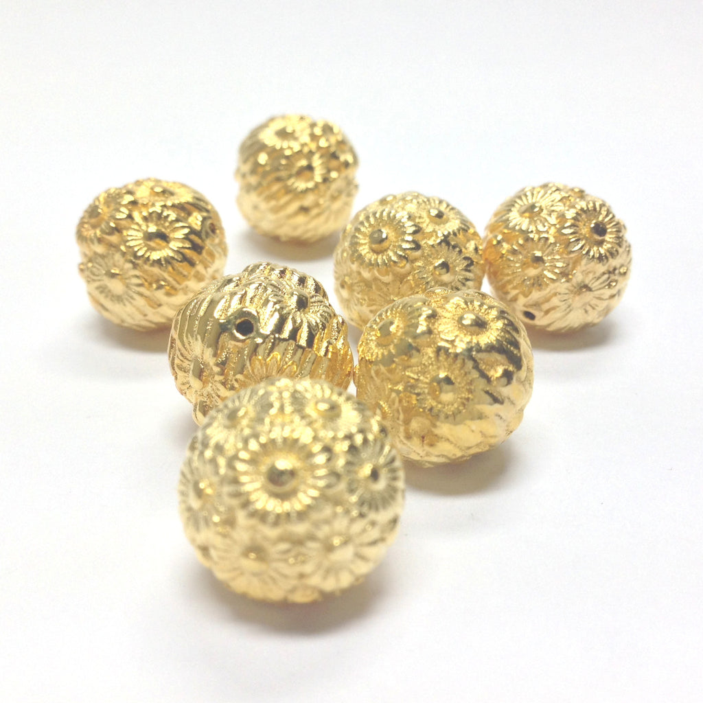 12MM Hamilton Gold Flower Bead (36 pieces)