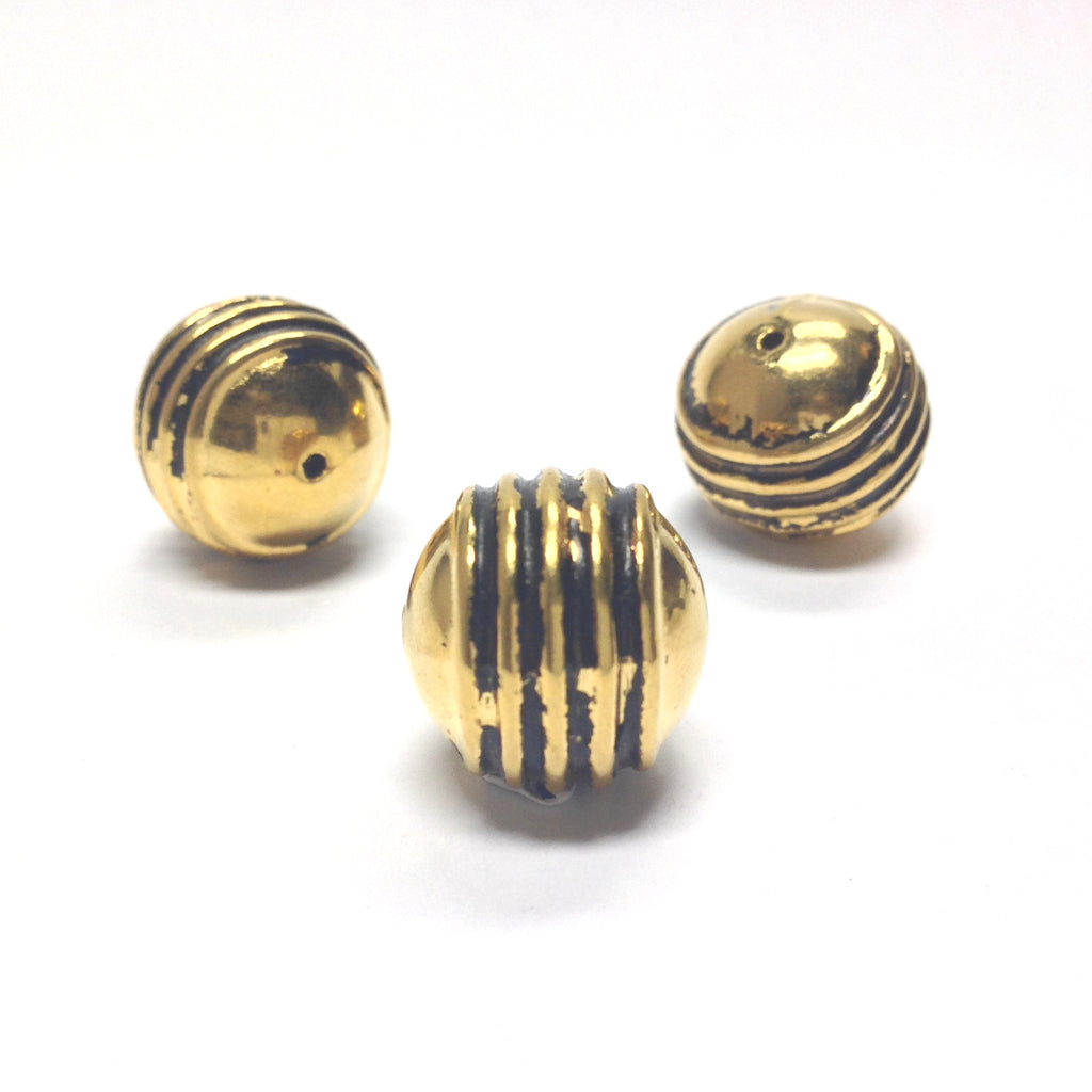15MM Ant.Ham.Gold Ribbed Bead (24 pieces)