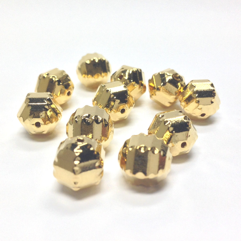 10MM Ham.Gold Fancy Faceted Bead (36 pieces)