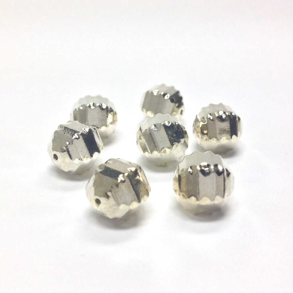 10MM Silver Fancy Faceted Bead (36 pieces)