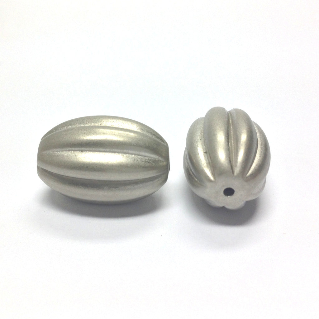 20X14MM Fluted Satin Silver Bead (12 pieces)