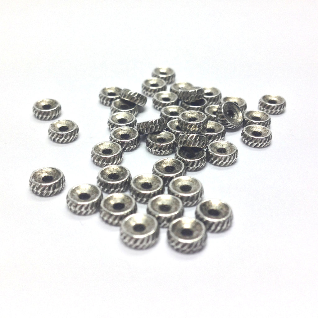 5MM Ant/Silver Fancy Rondel (144 pieces)