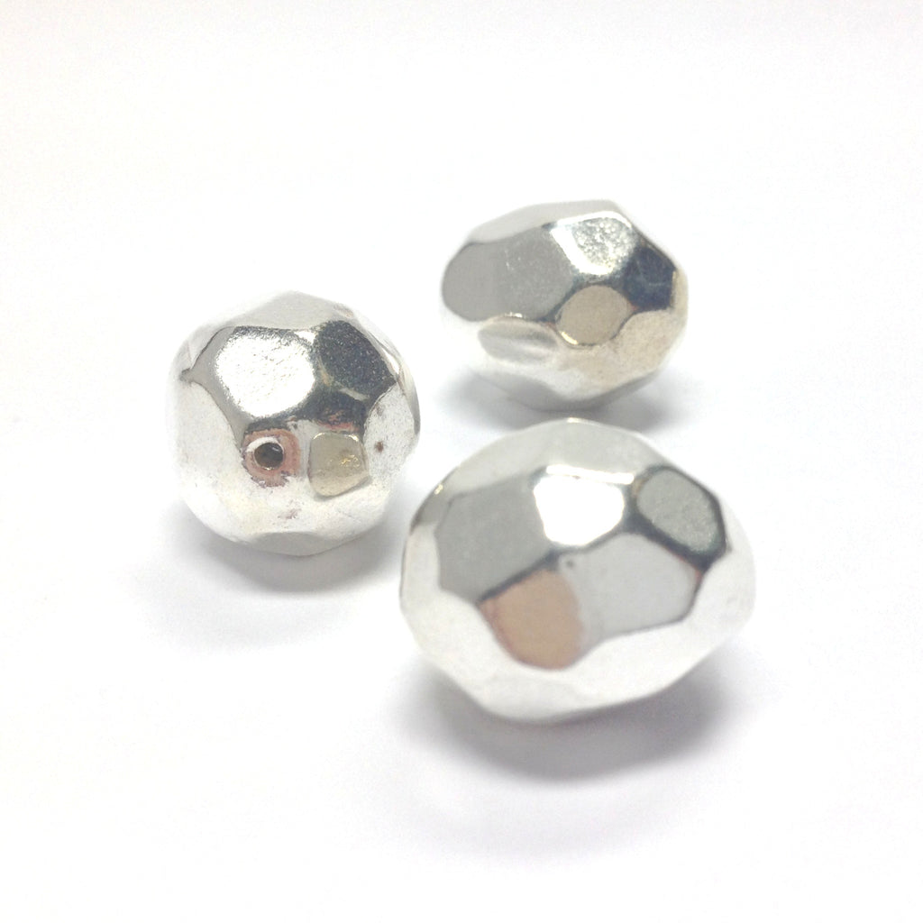 17X15MM Silver Faceted Bead (24 pieces)
