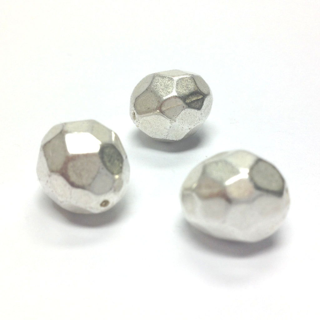 14X12MM Mat Silver Faceted Bead (36 pieces)
