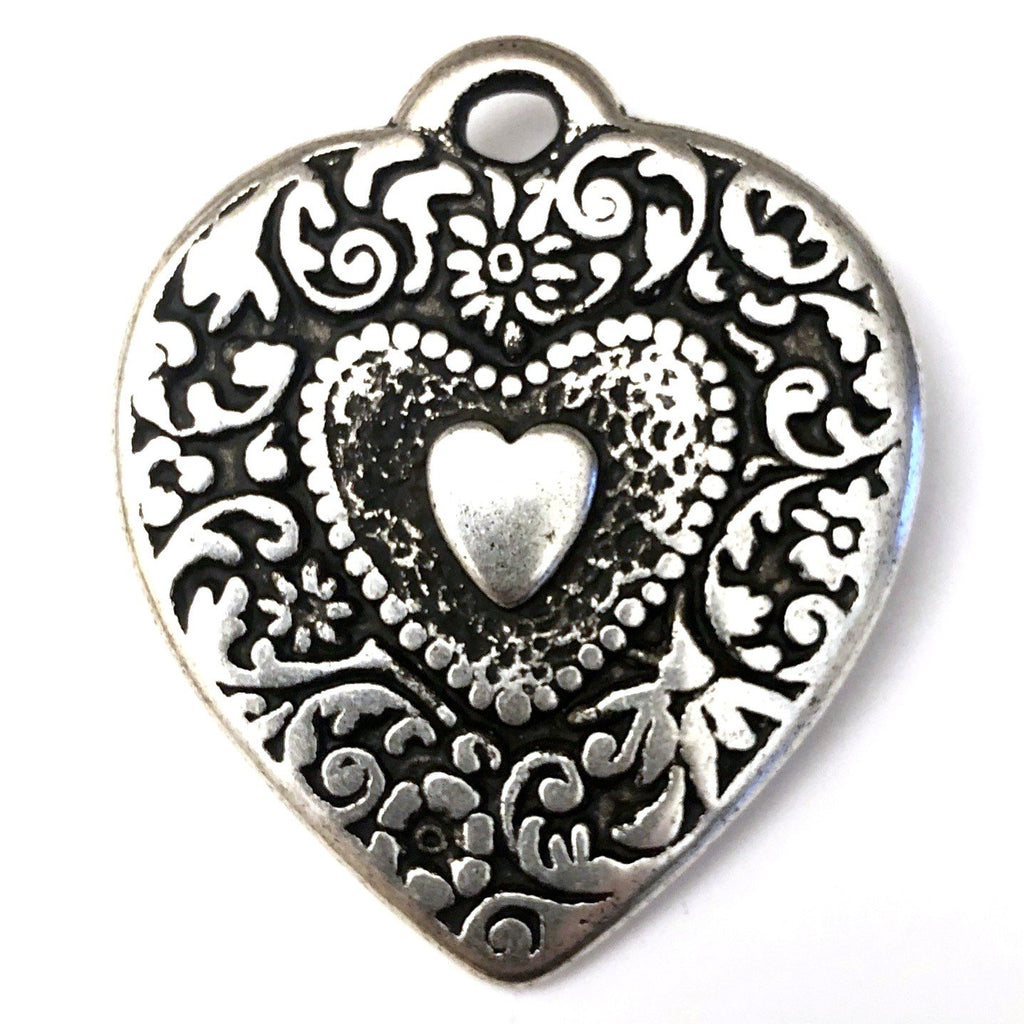 44MM Ant.Silver Heart Drop (6 pieces)