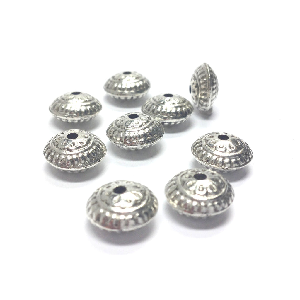 11MM Ant.Silver Fancy Rondel (36 pieces)