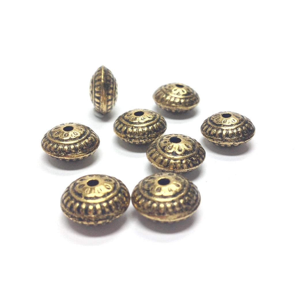 23MM Ant.Ham.Gold Fancy Rondel (12 pieces)