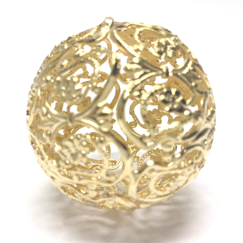Filigree Round 35MM Bead Hamilton Gold (1 pieces)