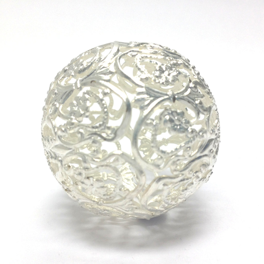 Filigree Round 35MM Bead Silver (1 pieces)
