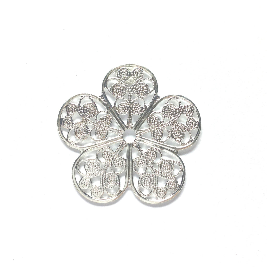 Filigree 35MM Flower Silver (2 pieces)