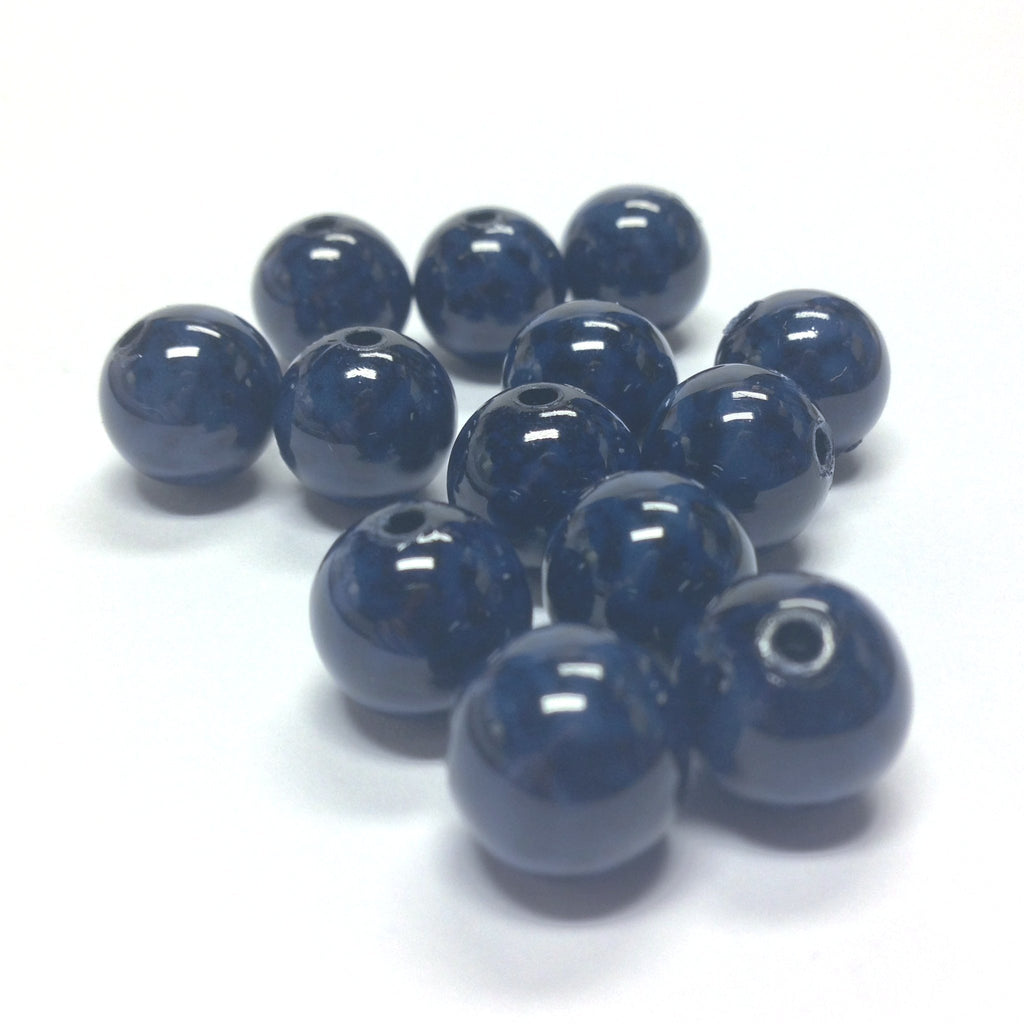 12MM Blue/Black Dappled Beads (72 pieces)