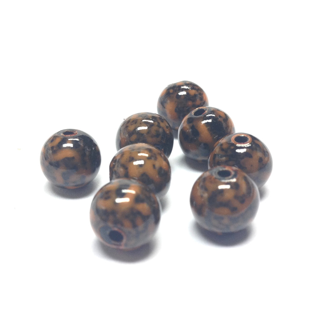 10MM Mustard/Black Dappled Beads (72 pieces)