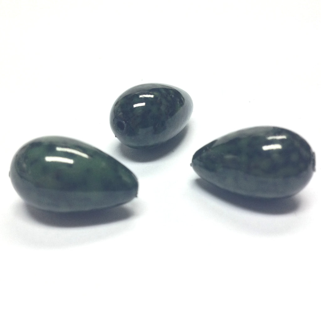 10X17MM Green/Black Dappled Pear Beads (36 pieces)