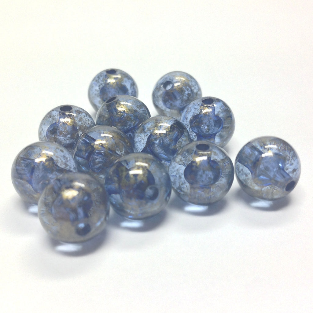 "10MM Blue ""Gold Lace"" Bead (72 pieces)"