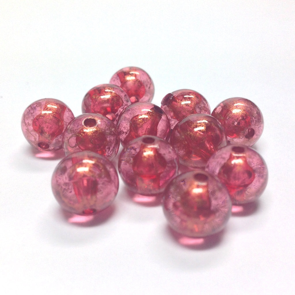 "10MM Ruby ""Gold Lace"" Bead (72 pieces)"
