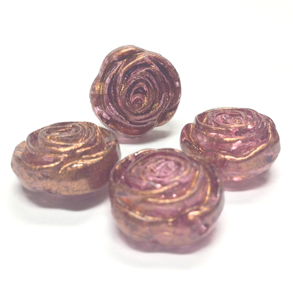 "17MM Lilac ""Gold Lace"" Rose Bead (24 pieces)"