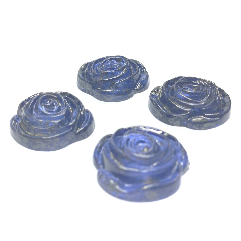 "17MM Blue ""Gold Lace"" Rose Cab (24 pieces)"