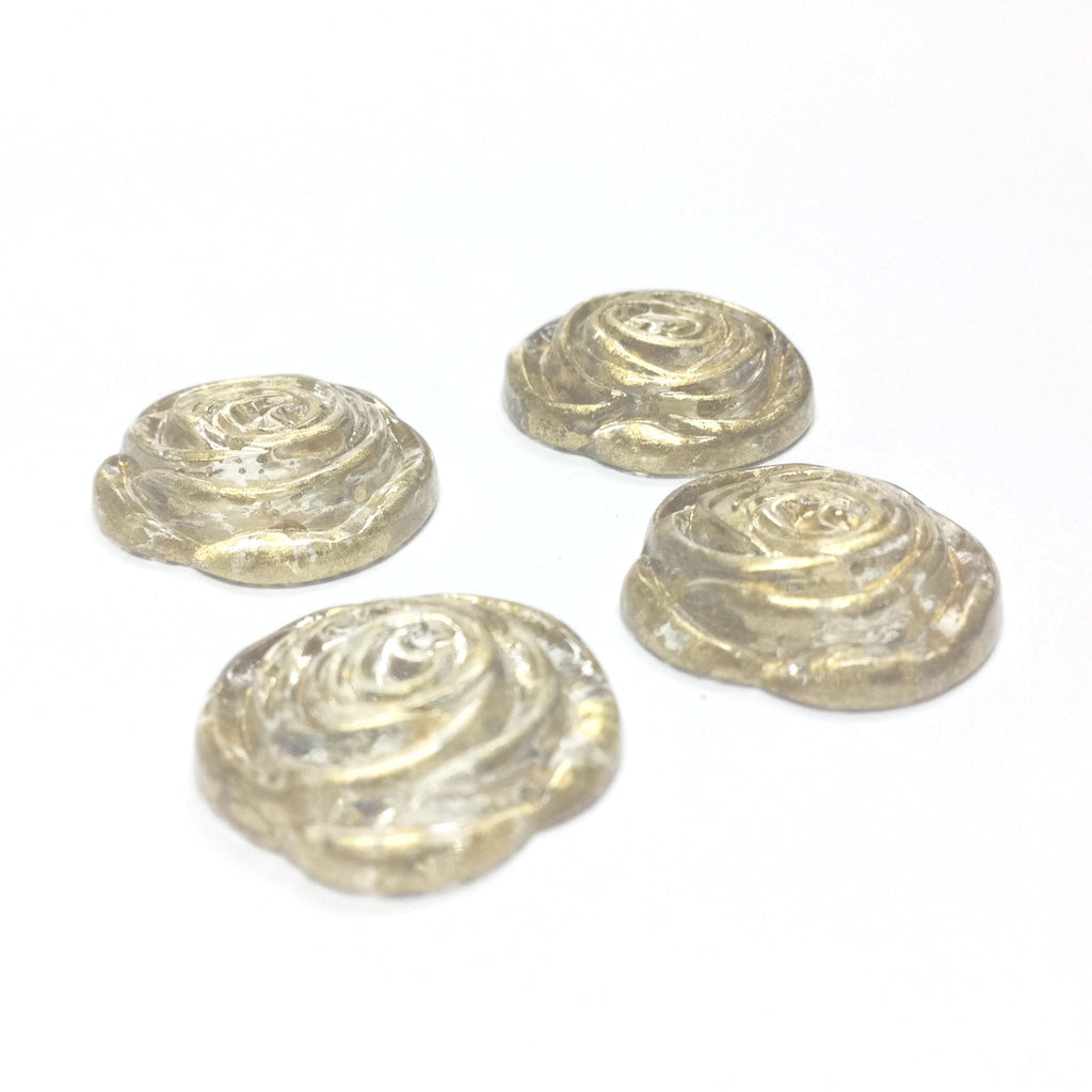 "17MM Crystal ""Gold Lace"" Rose Cab (24 pieces)"
