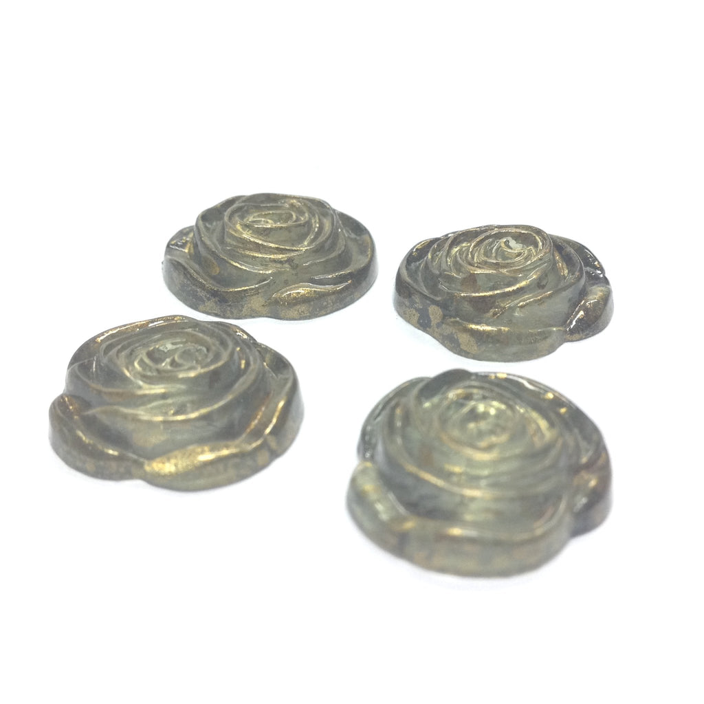 "17MM Green ""Gold Lace"" Rose Cab (24 pieces)"