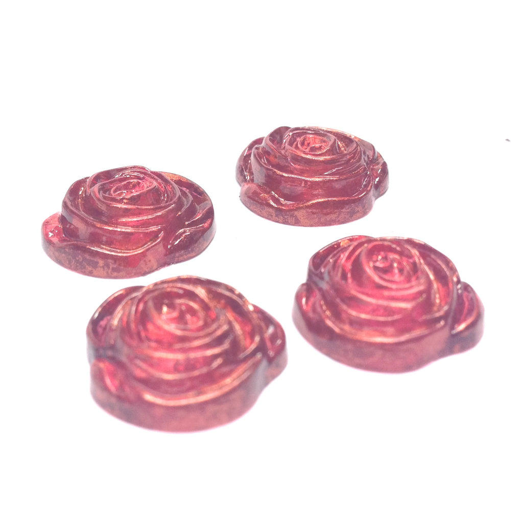 "17MM Ruby ""Gold Lace"" Rose Cab (24 pieces)"