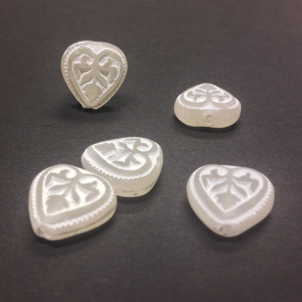 12MM Ivory/White Engraved Heart Bead (36 pieces)