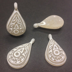 12X30MM Ivory/White Engraved Pear Drop (12 pieces)