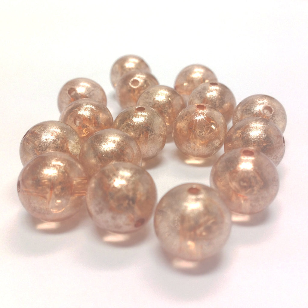 "12MM Peach ""Silver Lace"" Bead (72 pieces)"