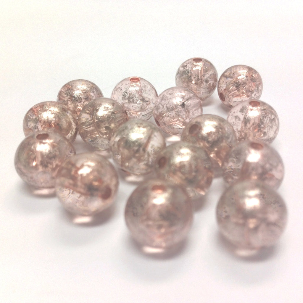 "10MM Pink ""Silver Lace"" Bead (72 pieces)"