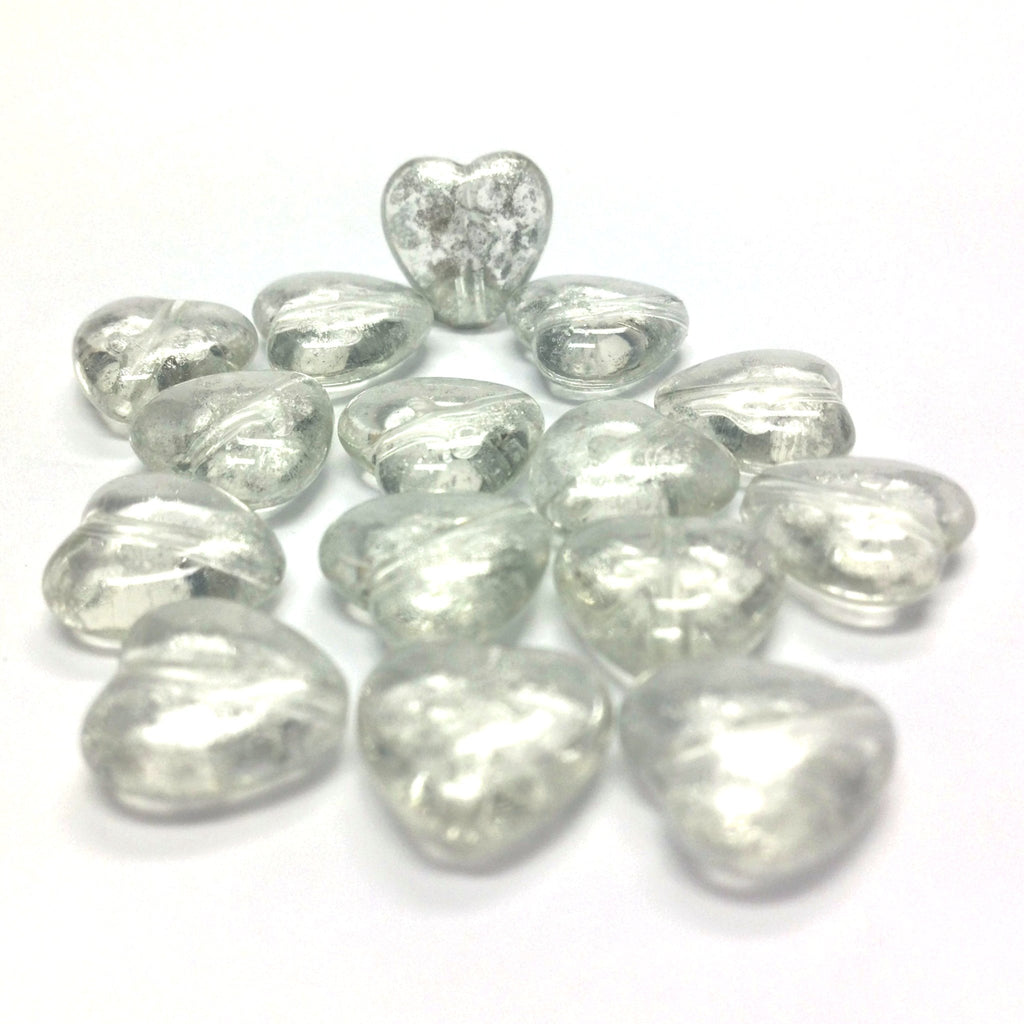 "11MM Crystal""Silver Lace"" Heart Bead (72 pieces)"
