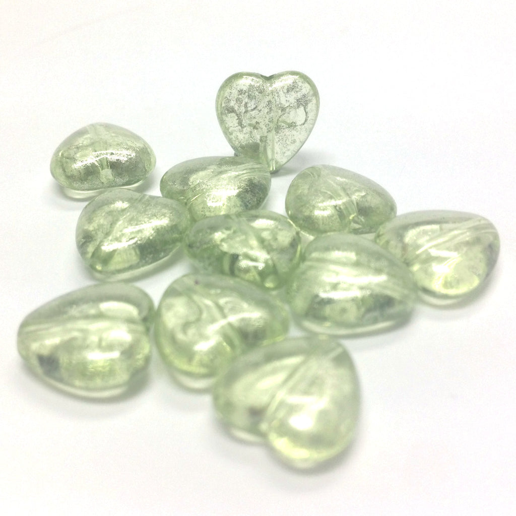 "11MM Green ""Silver Lace"" Heart Bead (72 pieces)"