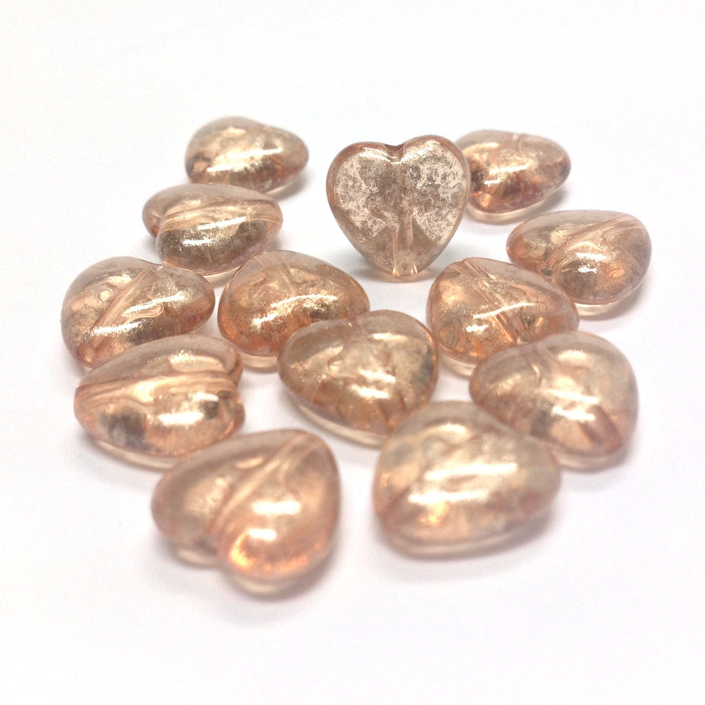 "11MM Peach ""Silver Lace"" Heart Bead (72 pieces)"