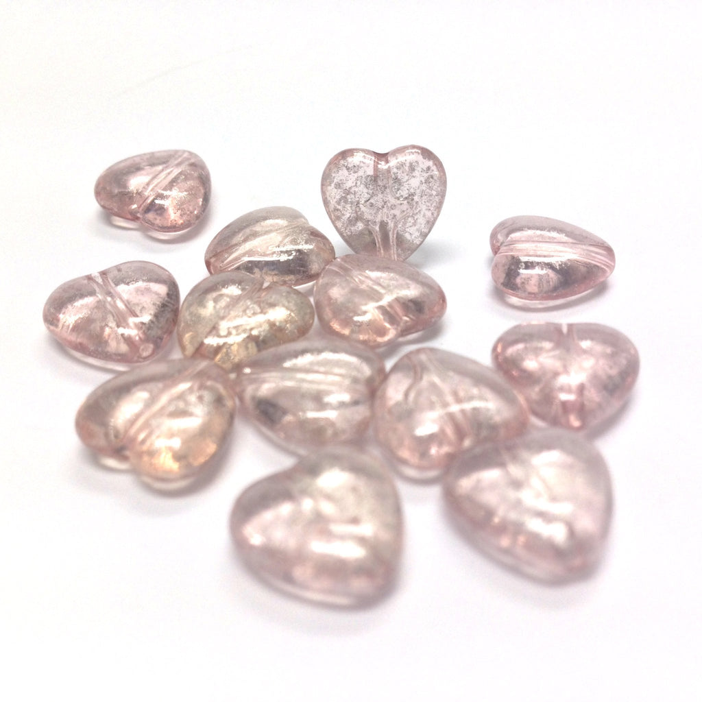 "11MM Pink""Silver Lace"" Heart Bead (72 pieces)"