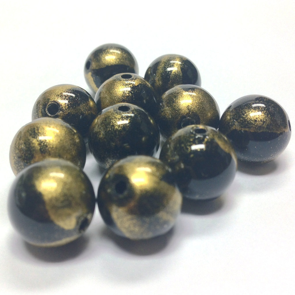 "10MM Black/Gold ""Striate"" Bead (36 pieces)"