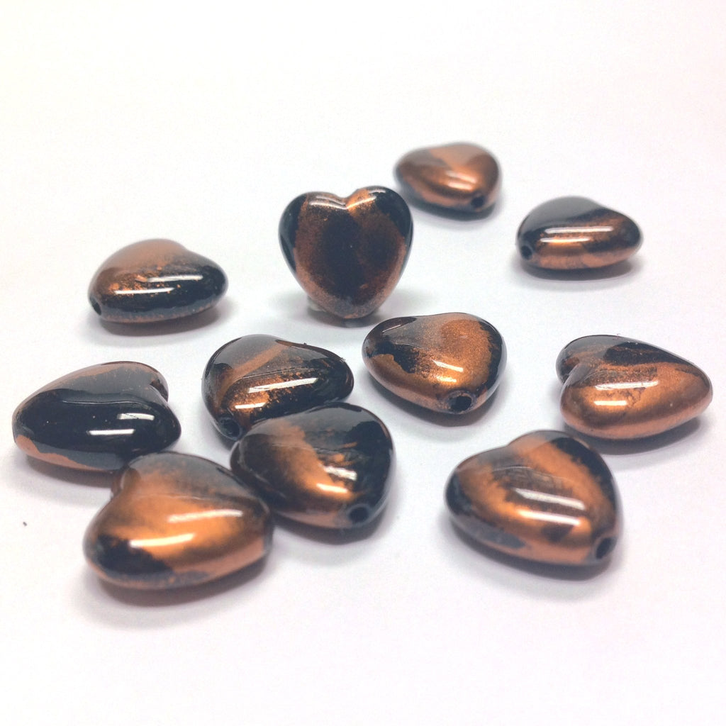 "11MM Black/Copper ""Striate"" Heart Beads (36 pieces)"