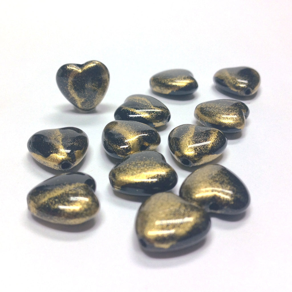 "11MM Black/Gold ""Striate"" Heart Beads (36 pieces)"