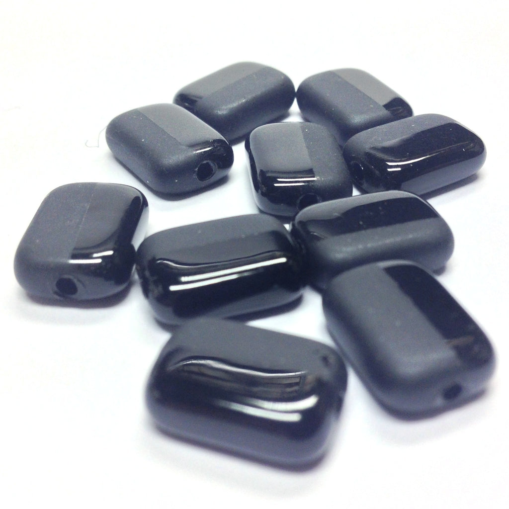 10X14MM Black Mat & Shiny Rectangle Bead (24 pieces)