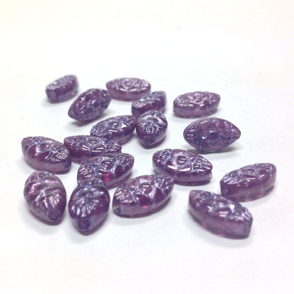 "11X6.5MM Lilac ""Halo"" Oval Bead (72 pieces)"