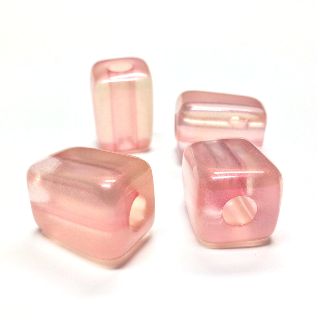 "15X21MM Pink ""Lumina"" Rectangle Beads (12 pieces)"