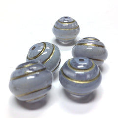 "15MM ""Stonewashed"" Blue/Gold Beads (12 pieces)"