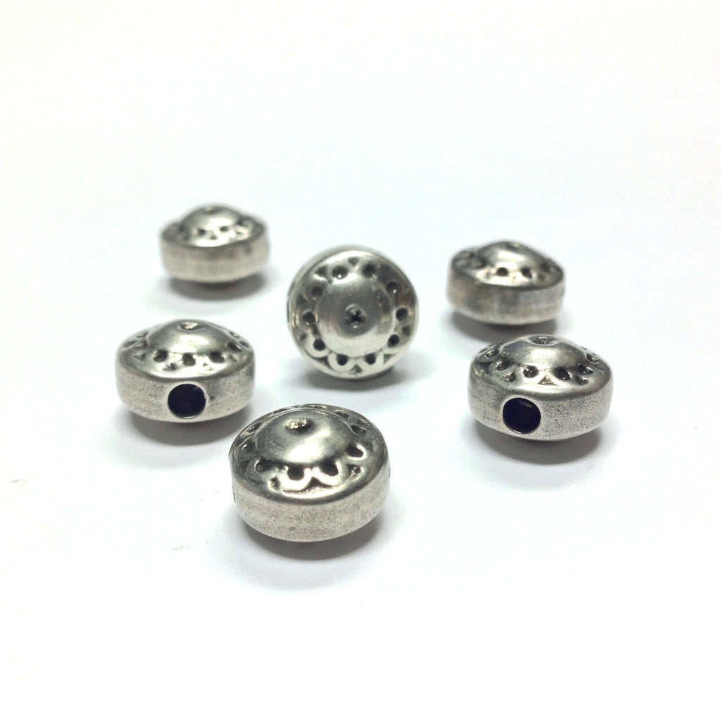 11MM Antique Silver Disc Bead (36 pieces)
