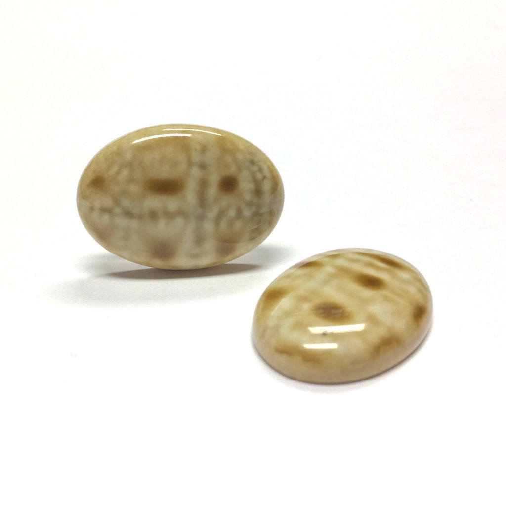 "25X18MM Beige ""Plaid"" Oval Cab (12 pieces)"