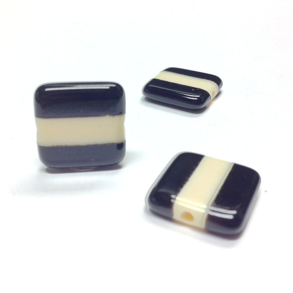 15MM Black Square Bead w/Ivory Stripe (6 pieces)