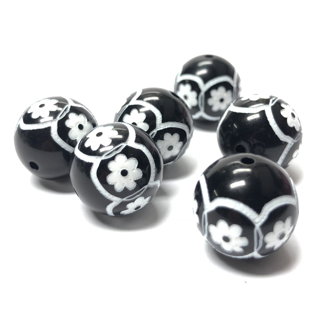 "22MM Black/White ""Daisy"" Bead (6 pieces)"