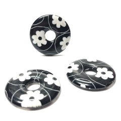 "27MM Black/White ""Daisy"" Ring (6 pieces)"