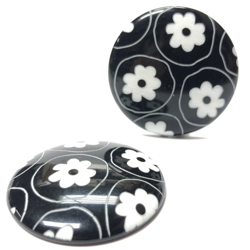 "36MM Black/White ""Daisy"" Disc (2 pieces)"