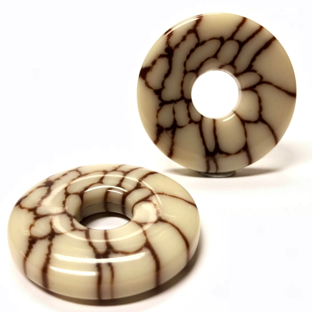 "30MM Ivory/Brown ""Crazed"" Ring (2 pieces)"