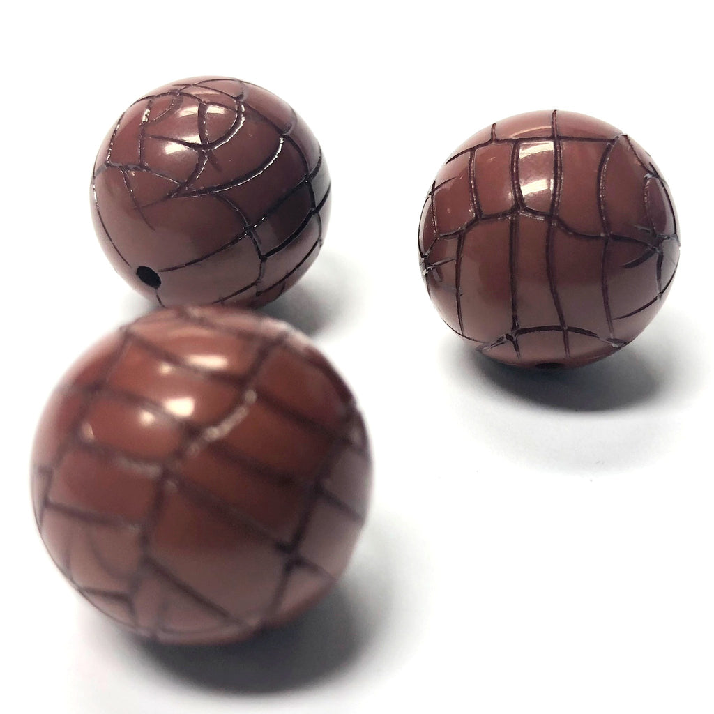 "18MM Rust ""Croc"" Round Bead (6 pieces)"