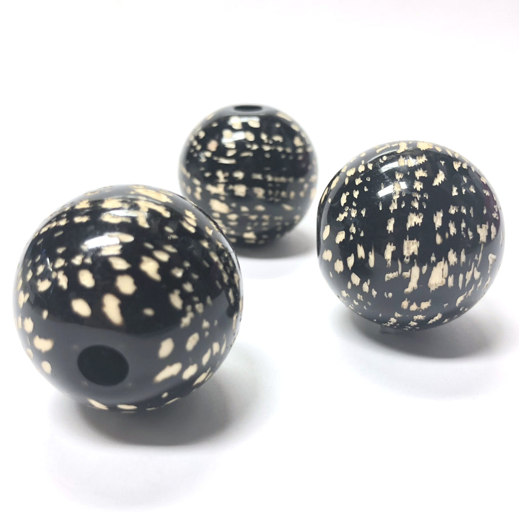 "28MM Black/Camel ""Tweed"" Bead (3 pieces)"